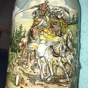 German Stein Dining - German Beer Stein Horses Stagecoach Cows 3D NICE!